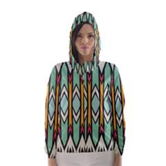 Rhombus and arrows pattern Hooded Wind Breaker (Women)