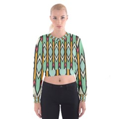 Rhombus and arrows pattern   Women s Cropped Sweatshirt