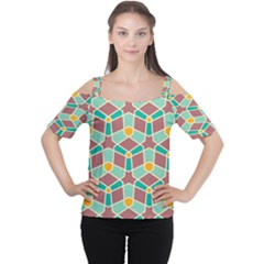 Stars and other shapes pattern Women s Cutout Shoulder Tee