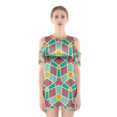 Stars And Other Shapes Pattern Women s Cutout Shoulder Dress