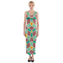Stars and other shapes pattern Fitted Maxi Dress