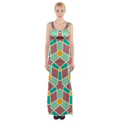 Stars and other shapes pattern Maxi Thigh Split Dress