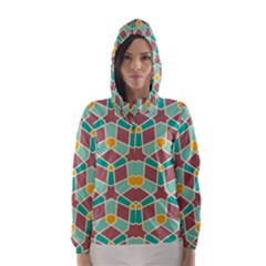 Stars and other shapes pattern Hooded Wind Breaker (Women)