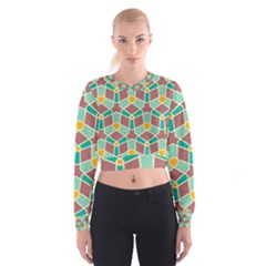 Stars and other shapes pattern   Women s Cropped Sweatshirt