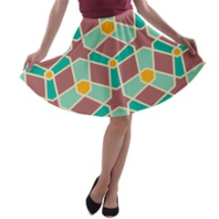 Stars And Other Shapes Pattern A Line Skater Skirt