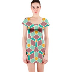 Stars And Other Shapes Pattern Short Sleeve Bodycon Dress