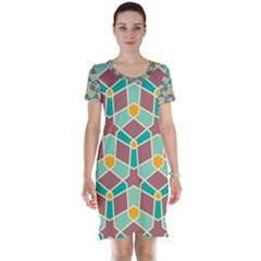 Stars And Other Shapes Pattern Short Sleeve Nightdress