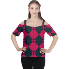 Black pink shapes pattern Women s Cutout Shoulder Tee
