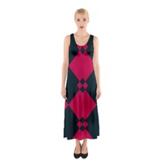 Black pink shapes pattern Full Print Maxi Dress