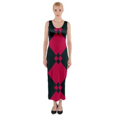Black Pink Shapes Pattern Fitted Maxi Dress