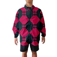 Black pink shapes pattern Wind Breaker (Kids)