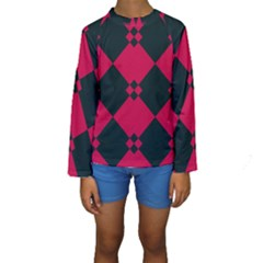 Black pink shapes pattern  Kid s Long Sleeve Swimwear
