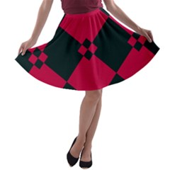 Black pink shapes pattern A-line Skater Skirt