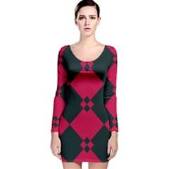 Black pink shapes pattern Long Sleeve Velvet Bodycon Dress