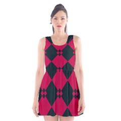Black pink shapes pattern Scoop Neck Skater Dress