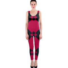 Black Pink Shapes Pattern Onepiece Catsuit