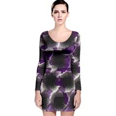 Fading holes Long Sleeve Velvet Bodycon Dress