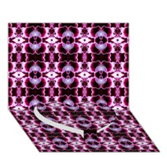 Purple White Flower Abstract Pattern Heart Bottom 3d Greeting Card (7x5)