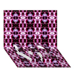 Purple White Flower Abstract Pattern LOVE Bottom 3D Greeting Card (7x5)