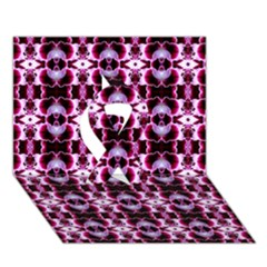Purple White Flower Abstract Pattern Ribbon 3D Greeting Card (7x5)