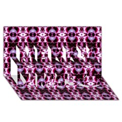 Purple White Flower Abstract Pattern Merry Xmas 3D Greeting Card (8x4)