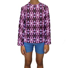 Purple White Flower Abstract Pattern Kid s Long Sleeve Swimwear