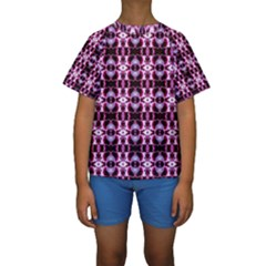 Purple White Flower Abstract Pattern Kid s Short Sleeve Swimwear