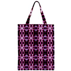 Purple White Flower Abstract Pattern Zipper Classic Tote Bags
