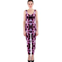 Purple White Flower Abstract Pattern Onepiece Catsuits
