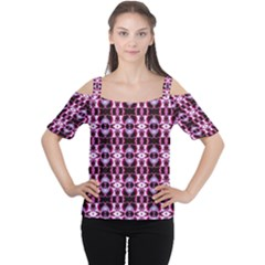 Purple White Flower Abstract Pattern Women s Cutout Shoulder Tee