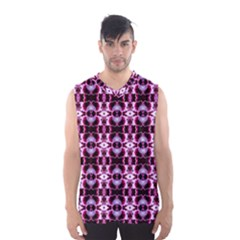 Purple White Flower Abstract Pattern Men s Basketball Tank Top