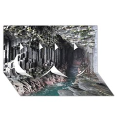 FINGALS CAVE Twin Hearts 3D Greeting Card (8x4)