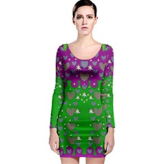 The Brightest sparkling stars Is Love Long Sleeve Bodycon Dress