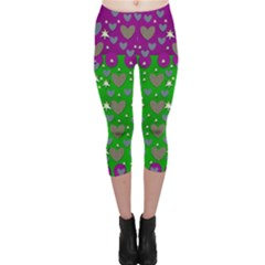 The Brightest sparkling stars Is Love Capri Leggings