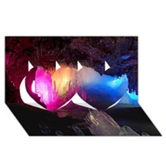 CAVE IN ICELAND Twin Hearts 3D Greeting Card (8x4)