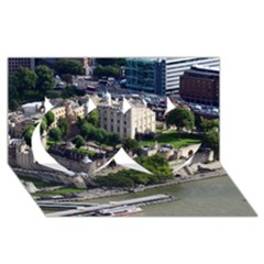 TOWER OF LONDON 1 Twin Hearts 3D Greeting Card (8x4)