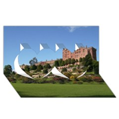 POWIS CASTLE TERRACES Twin Hearts 3D Greeting Card (8x4)