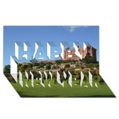 POWIS CASTLE TERRACES Happy New Year 3D Greeting Card (8x4)