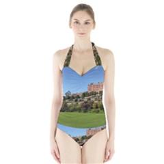 Powis Castle Terraces Women s Halter One Piece Swimsuit