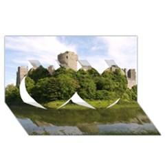 PEMBROKE CASTLE Twin Hearts 3D Greeting Card (8x4)