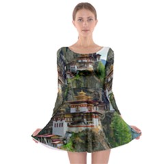 Paro Taktsang Long Sleeve Skater Dress