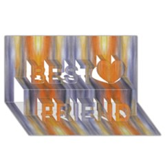 Gray Orange Stripes Painting Best Friends 3D Greeting Card (8x4)