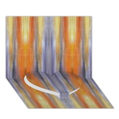 Gray Orange Stripes Painting Heart Bottom 3D Greeting Card (7x5)