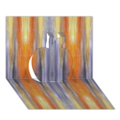 Gray Orange Stripes Painting Apple 3D Greeting Card (7x5)