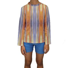 Gray Orange Stripes Painting Kid s Long Sleeve Swimwear