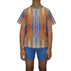 Gray Orange Stripes Painting Kid s Short Sleeve Swimwear