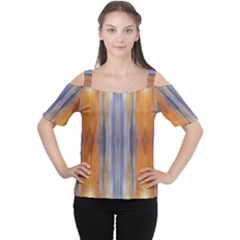 Gray Orange Stripes Painting Women s Cutout Shoulder Tee
