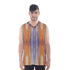 Gray Orange Stripes Painting Men s Basketball Tank Top