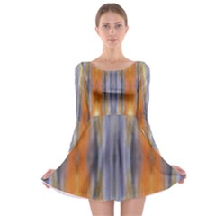 Gray Orange Stripes Painting Long Sleeve Skater Dress