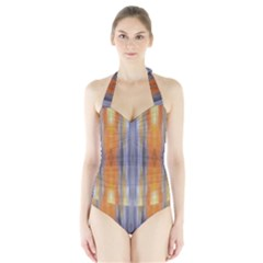Gray Orange Stripes Painting Women s Halter One Piece Swimsuit